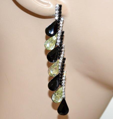 ORECCHINI donna cristalli NERO BEIGE ORO CHAMPAGNE pendenti gocce strass eleganti cerimonia Z10