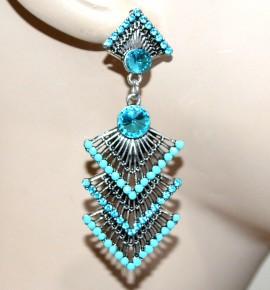 ORECCHINI donna etnici argento tibetano strass azzurri perline ragazza regalo G7