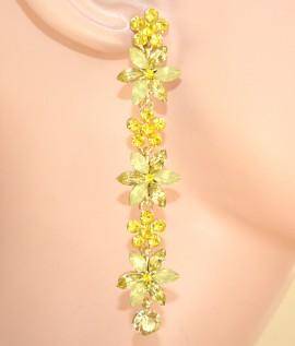 Fiori Gialli Pendenti.Orecchini Donna Fiori Oro Pendenti Cristalli Giallo Eleganti E105