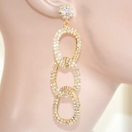 ORECCHINI donna ORO cerchi strass cristalli sposa da cerimonia earrings elegante 400B