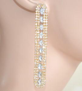 ORECCHINI donna ORO cristalli strass pendenti eleganti da cerimonia sposa earrings 1120