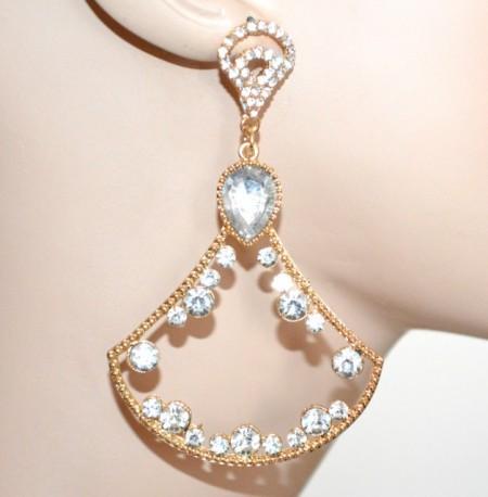 ORECCHINI donna ORO dorati pendenti lunghi cristalli strass brillantini серьги CC79