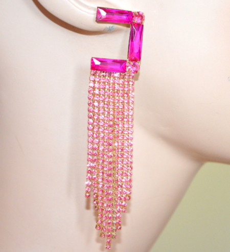 ORECCHINI FUCSIA ROSA donna cristalli fili pendenti strass oro eleganti cerimonia S52