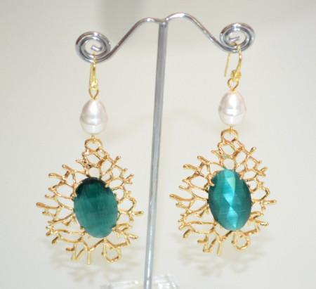 ORECCHINI ORO Cristallo Verde Smeraldo Perla donna pendenti bronzo dorato P2