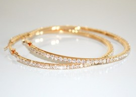 ORECCHINI ORO donna CERCHI STRASS dorati cristalli BRILLANTINI eleganti festa cerimonia F93