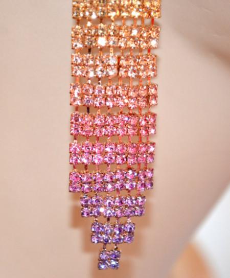 ORECCHINI ORO ROSA LILLA GLICINE donna dorati strass pendenti lunghi sfumature eleganti N2