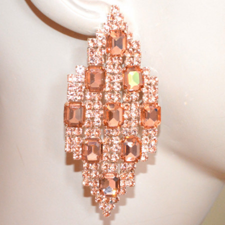 ORECCHINI ROSA CORALLO donna pendenti lunghi rombi cristalli strass eleganti S46