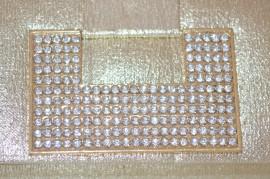 POCHETTE donna CERIMONIA borsello elegante borsa strass cristalli da sera ORO 97