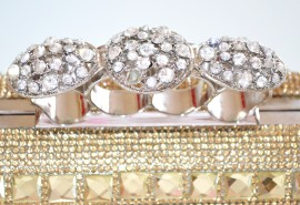 POCHETTE donna oro CRISTALLI borsetta STRASS borsello borsa SPOSA elegante da cerimonia CLUTCH matrimonio 15N