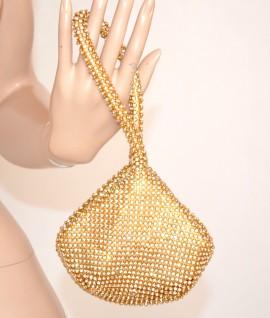POCHETTE ORO donna CRISTALLI MINI BORSELLO clutch borsa DA CERIMONIA elegante 810A