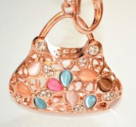 Portachiavi ciondolo da borsa donna borsetta cristalli strass bomboniera idea regalo cerimonia festa 18 anni laurea 5