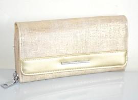 PORTAFOGLIO BEIGE ORO donna borsello zip argento pochette portamonete borsa A6