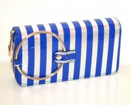 PORTAFOGLIO BLU ARGENTO borsello donna pochette clutch portamonete vernice G30