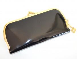 PORTAFOGLIO donna nero oro dorato vernice lucida ecopelle borsello per borsa Z18