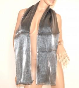 SCIARPA maxi foulard donna GRIGIO ARGENTO pashmina sciarpetta metallizzata tinta unita scarf 15