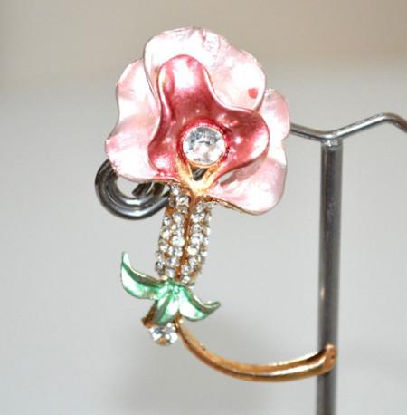 SPILLA ROSA cipria rosso donna oro dorata fiore strass cristalli fermaglio brooch CC20