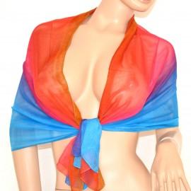 STOLA  fantasia foulard elegante velato cerimonia coprispalle x vestito da sera tessuto trasparente multicolore 140M