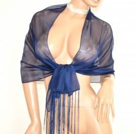 STOLA foulard BLU scialle donna cerimonia velato frange seta coprispalle elegante abito da sera E120