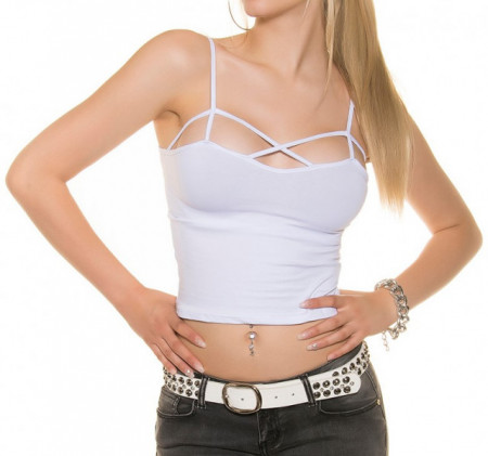 TOP BIANCO donna canotta sottogiacca maglia corta giromanica t-shirt AZ69
