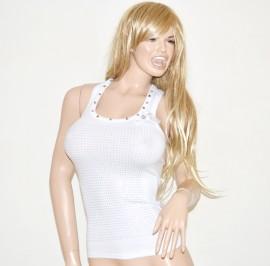 Top canotta donna maglietta maglia canottiera sottogiacca sport borchie chiodini strass bianco 15