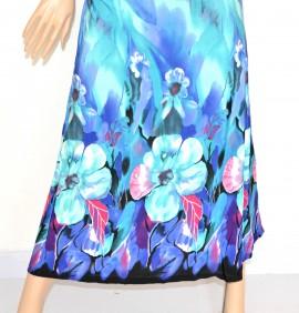 Vestito donna abito lungo fantasia floreale azzurro blu bandeau da sera elegante 95A