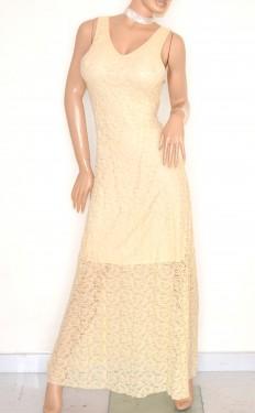 ABITO donna LUNGO elegante BEIGE pizzo ricamato vestito da sera cerimonia party E120