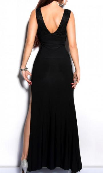 ABITO LUNGO NERO donna vestito decoltè cristalli giromanica cerimonia dress A25