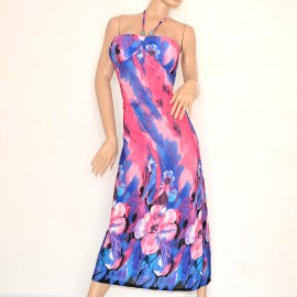 ABITO LUNGO vestito DONNA fantasia floreale blu fucsia elegante bandeau da sera 95B