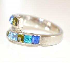 ANELLO donna ARGENTO elegante fedina STRASS azzurri verde viola blu cristalli zirconi brillanti ring N5