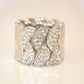 ANELLO donna cristalli  strass ARGENTO brillanti elegante da cerimonia elastico anillo ring 29A