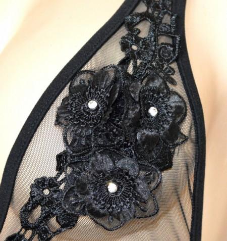 BODY NERO donna maglietta sottogiacca velata pizzo fiori ricamati strass made in Italy G88