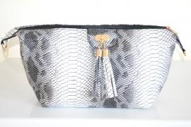 BORSA donna bianco nero grigio eco pelle stampa rettile tracolla spalla sac H3