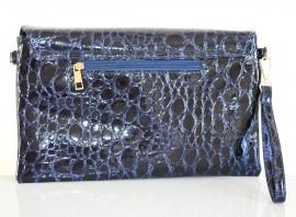 BORSELLO BLU donna stampa cocco pelle lucida pochette vernice pvc tracolla a mano spalla Z3