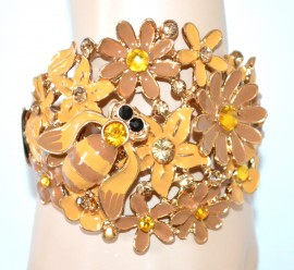 BRACCIALE AMBRA BRONZO donna rigido oro smaltato floreale bracelet NVA