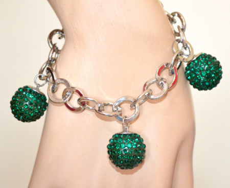 BRACCIALE ARGENTO CIONDOLI VERDI donna charms sfere strass cristalli catena anelli V8