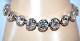 BRACCIALE argento donna tennis strass cristalli cerchi bigiotteria bracelet A50