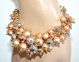 BRACCIALE donna argento oro rosa dorati ciondoli lucidi satinati elegante cerimonia BB1