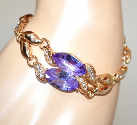 BRACCIALE donna oro dorato cristalli lilla glicine viola gocce strass elegante bracelet pulsera GP8