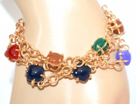 BRACCIALE ORO PIETRE donna dorato blu rosso bronzo verde elegante bracelet F175