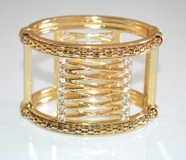BRACCIALE ORO RIGIDO donna strass cristalli schiava dorato elegante bracelet A74