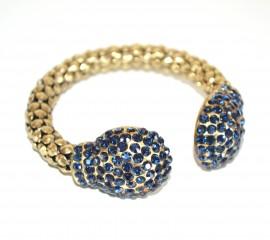 BRACCIALE RIGIDO donna oro bronzo strass cristalli blu notte a schiava dorato bracelet A12