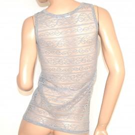 CANOTTA GRIGIO donna strass pizzo ricamo sexy top maglia sottogiacca elegante party A8