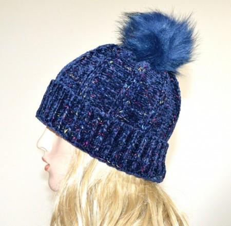 CAPPELLO BLU donna berretto ciniglia copricapo pon pon caldo invernale hat G12