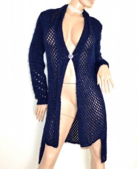 Cardigan BLU +spilla donna maglione aperto maglia manica lunga made in Italy G59