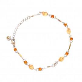 CAVIGLIERA donna argento brillantini strass arancio estivo gioielli sexy mare 2G