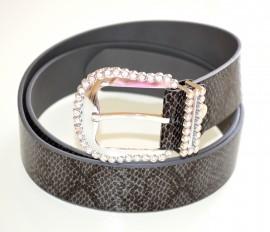 CINTURA pelle donna GRIGIO pitonata elegante STRASS fibbia cristalli argento belt 490