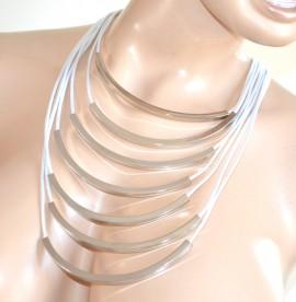 COLLANA BIANCA ARGENTO girocollo donna multifili elegante collier silver necklace F280