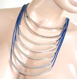COLLANA BLU ARGENTO girocollo donna multifilo elegante collier fili cerimonia F280