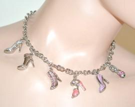 COLLANA donna argento GIROCOLLO ciondoli charms scarpette smaltate scarpine strass fucsia cristalli catena anelli N66