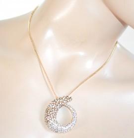 COLLANA donna catenina oro ciondolo serpente strass girocollo bigiotteria collier F305